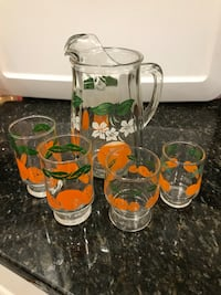 Vintage Anchor Hocking orange juice pitcher & glasses Great Falls, 22066