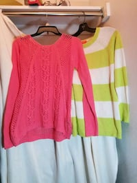 2 sweaters, fits like a small, pink, lime sweaters, price is for both