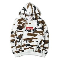 White, brown, and black supreme camo pullover hoodie