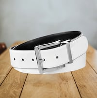 Large size Reversible DKNY Belt – White/Black,