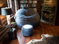 Supersac Lovesac in Owl Phur/reversible grey/tan microfiber with matching squatoman, tubesac pillow and attachable drink holder.  Package includes shrink kit and large Lovesac transport duffel.