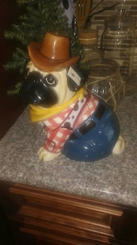 Country Pug Cookie Jar