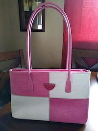 pink and white leather tote bag Saint Clair Shores