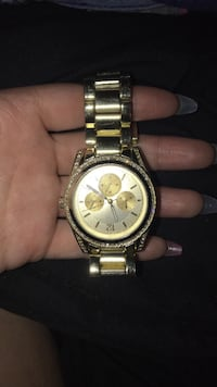 round gold Michael Kors chronograph watch with link bracelet Kingston, 12401