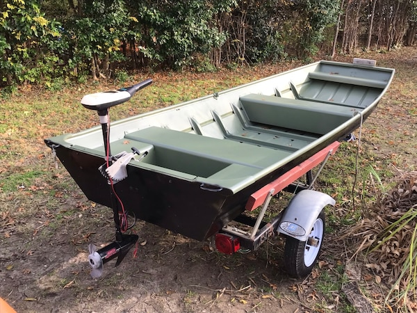 Sold Super nice 14ft Jon boat with motor and trailer !!!!! in