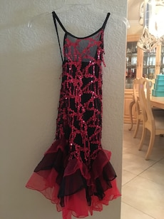 Women's red and black sequin spaghetti strap dress