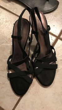 pair of black open toe ankle strap heeled sandals Tyler, 75702