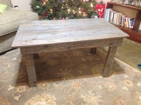 Hand made grey stained coffee pallet wood table