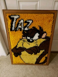 Taz Cross Stitch mounted on Wood Looney Tunes