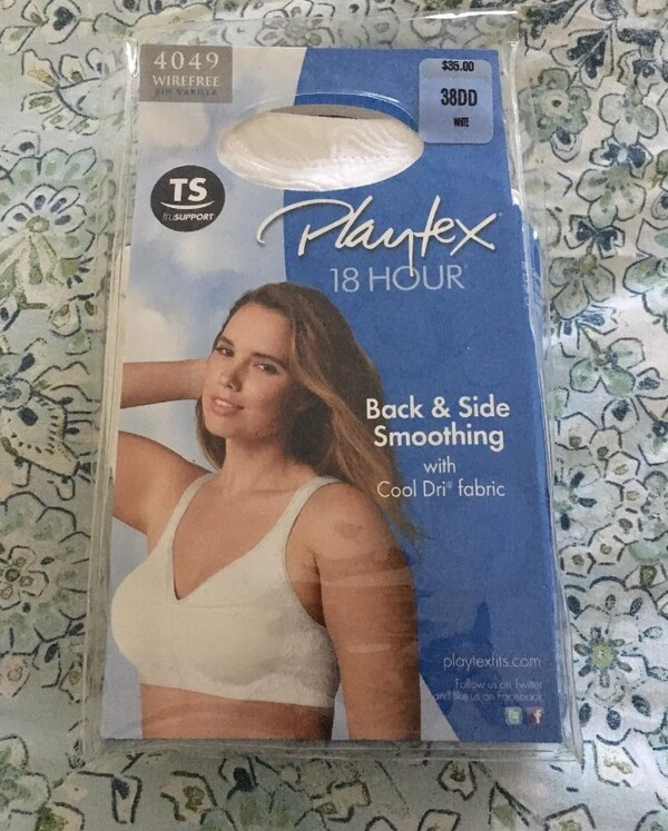 7695df76f6975 Playtex Bra 18 Hour Seamless Smoothing Full-Figure Wire Free White 4049 38DD