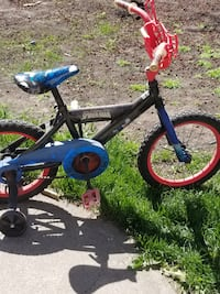 toddler's black and blue and red bicycle Edmonton
