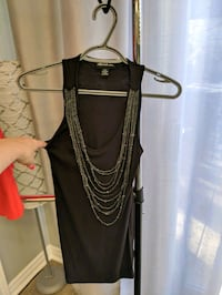 black and gray scoop neck sleeveless dress Barrie