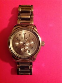 Round silver-colored chronograph watch with link bracelet Land O Lakes, 34638