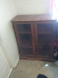 brown wooden framed glass cabinet ATLANTA