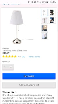 2 Ikea table/side table lamps Port Coquitlam, V3C 0C1