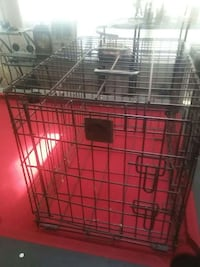black collapsible pet crate