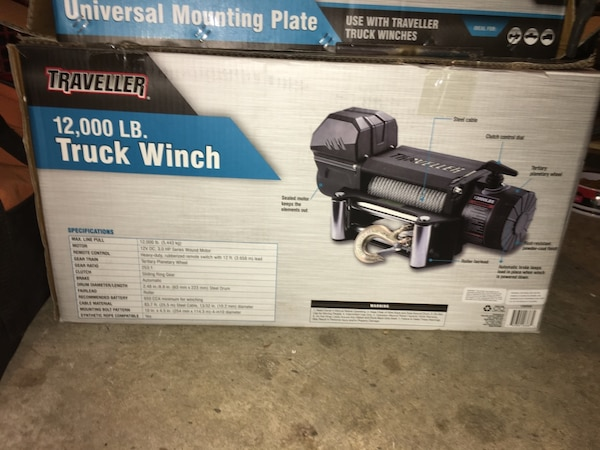 Traveler Truck Winch and Universal mounting plate