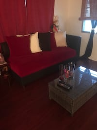 red fabric sofa with throw pillows Hollywood, 33021