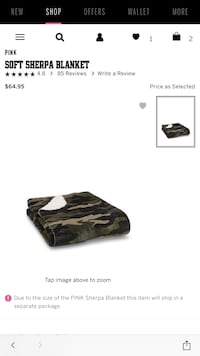 Black and gray camouflage Sherpa blanket  Canton, 39046