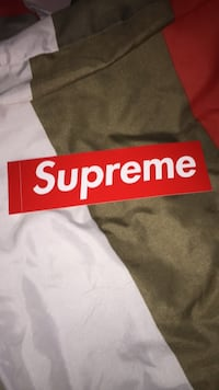 Red and white supreme sticker  Barrie, L4M 0B2