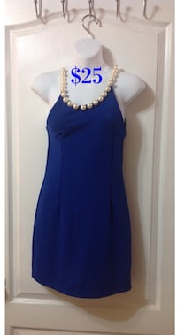 Royal Blue Pearl Neckline Dress: Size XS Toronto, M1S