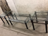 Coffee glass table 48x24x16.5 and two side glass table 21.5x21.5x20 Toronto, M4X 1G6