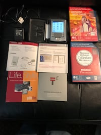 Palm Tungsren E (used) with hard metal case & charger. Also includes Game Essentials and Merriam Webster's Collegiate Dictionary (11th Ed) and Franklin Thesaurus expansion cards (used). Sterling, 20164