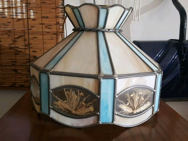 Vintage Stained Glass Hanging Lamp Light Blue