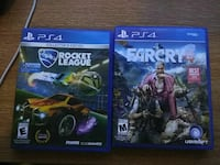 two Rocket League and Farcry PS4 game cases
