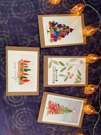 Hand made water paintings, Christmas Cards