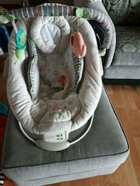 baby's gray and white bouncer