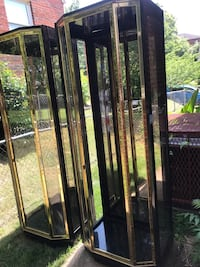 Exceptional Pair of Black Lacquered and Brass Display Cabinets by Henredon Hyattsville, 20783