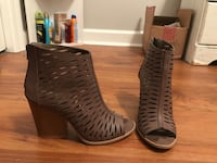 pair of brown leather peep-toe heeled booties Summerville, 29485