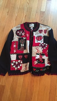 Red and black heart printed cardigan