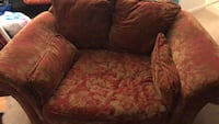 red and brown floral fabric sofa chair 30 km