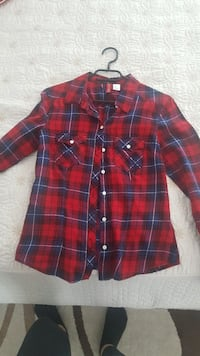Rotes und blaues Plaid Button-up-Shirt 6541 km