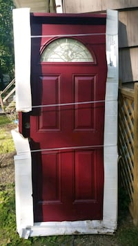 Front entry door. Red. Crack on front Nutley, 07110