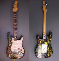 UPDATE Signed Splatter Paint Aria Pro Electric Guitar Stone Roses Val Alexandria