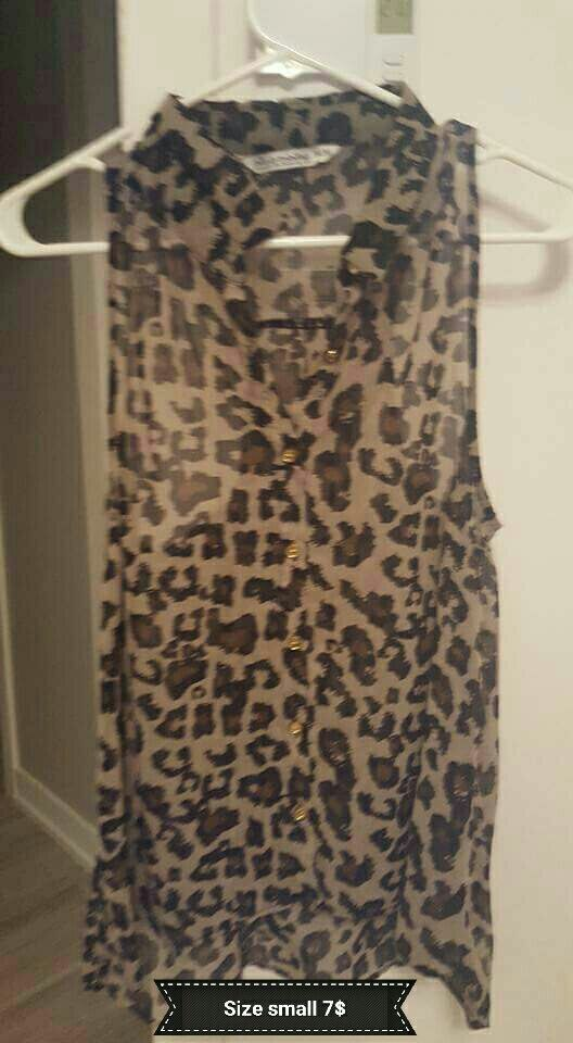 black and brown Leopard print sleeveles blouse