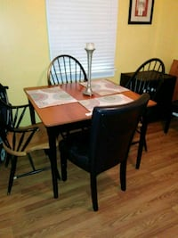 rectangular brown wooden table with four chairs dining set 18 km