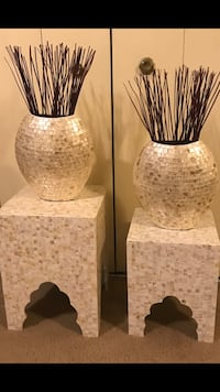 New 4 pieces set of 2 mosaic stands tables 2 matching vases free bamboo sticks pick up in Gaithersburg Maryland all sales final  Gaithersburg, 20877