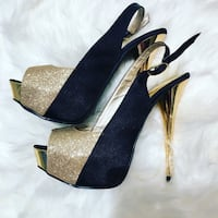 BLACK AND GOLD HIGH HEELS SIZE 7 Laval, H7P 1Z7