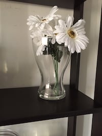 Clear vases with flowers