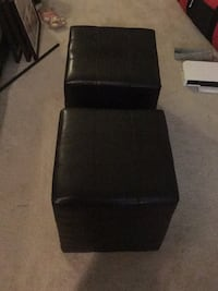Dark brown leather padded foot rests
