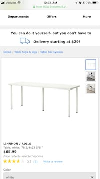 IKEA long white table with 5 silver legs  Philadelphia, 19107