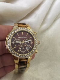 round gold Michael Kors chronograph watch with link bracelet Nashville, 37211