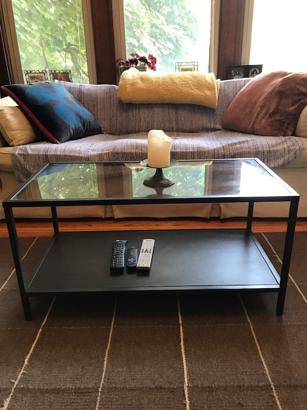 Glass top living room table