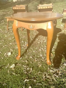 brown wooden round end table