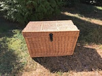 Antique French handwoven wicker trunk (large)