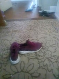 pair of pink running shoes